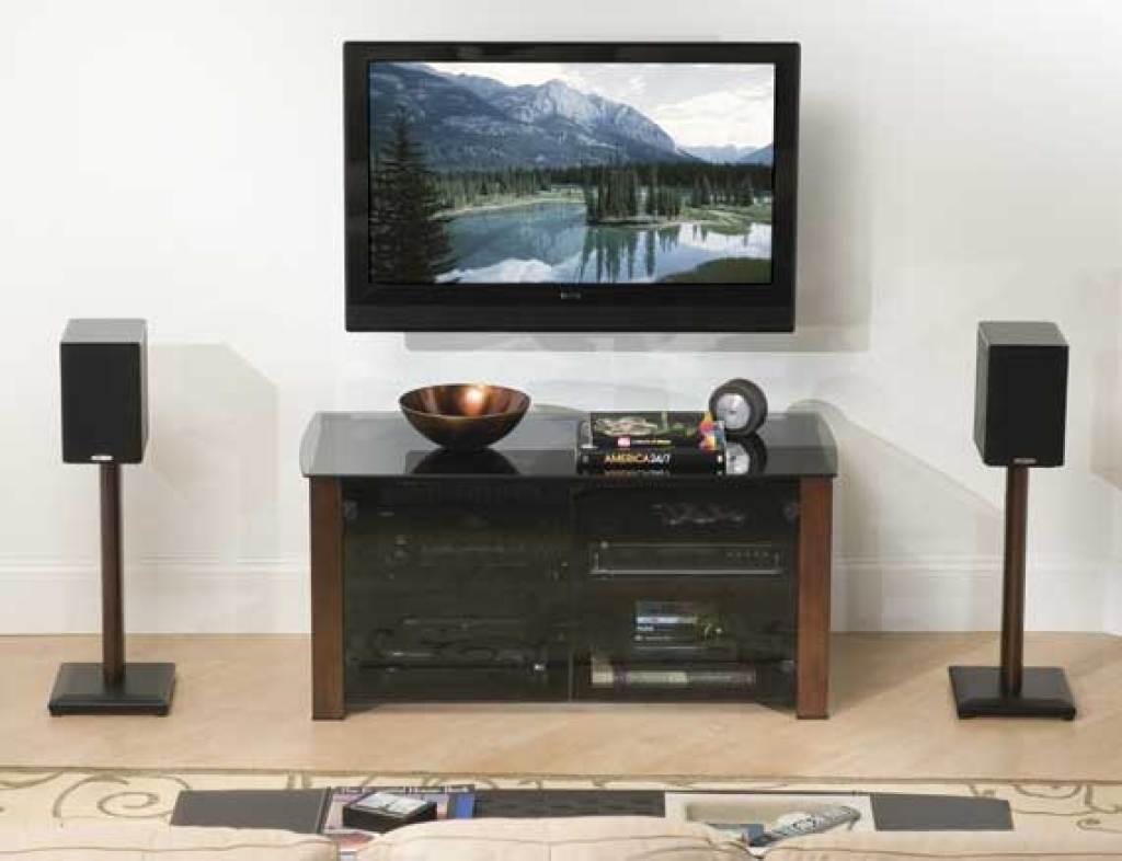 """sanus 24"""" natural series wood pillar bookshelf speaker stands - pair"""