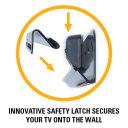 Innovative saftery latch secures your TV onto the wall