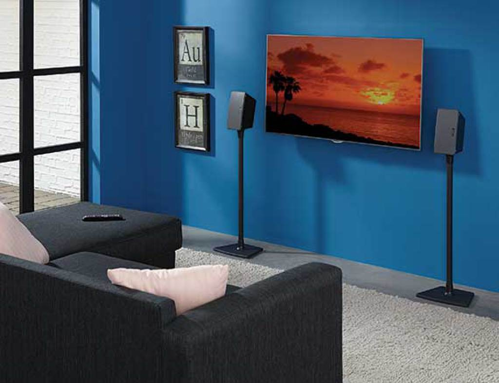 sanus wireless speaker stands for sonos play 1 and play 3. Black Bedroom Furniture Sets. Home Design Ideas