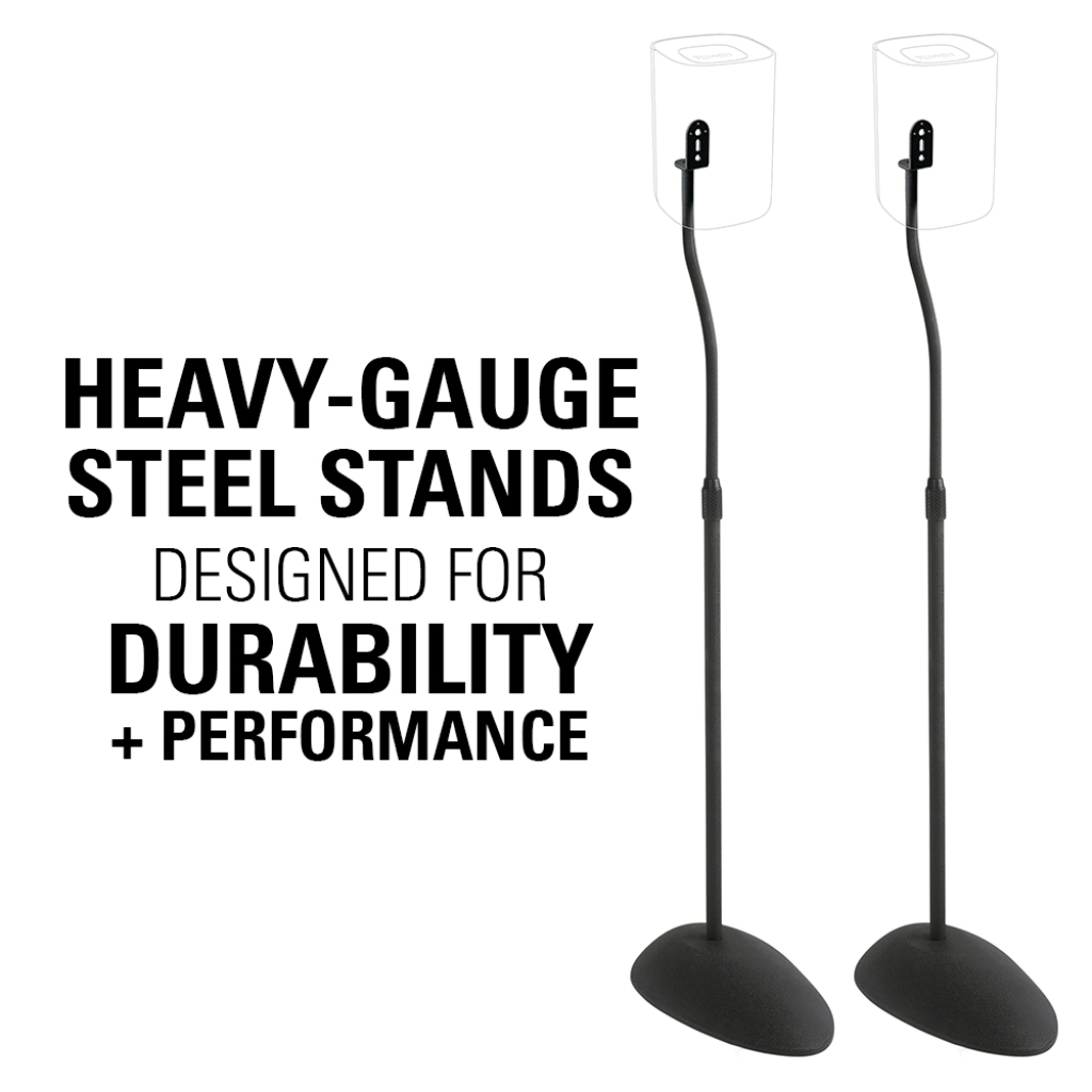 Black Tear Drop Base 26-39 Height Sanus Home Theater Series Adjustable Height Speakers Stands for Satellite Speakers HTB3