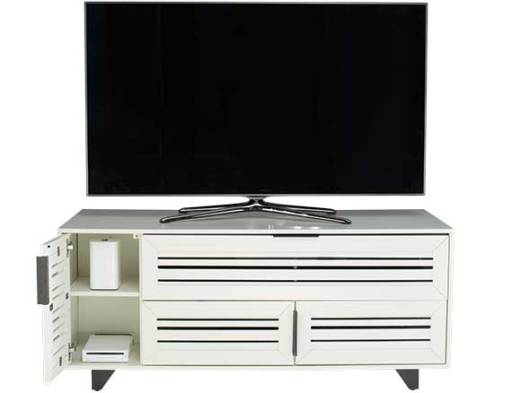 JUNIPER52-AW Antique White Front with TV and Side Door Open