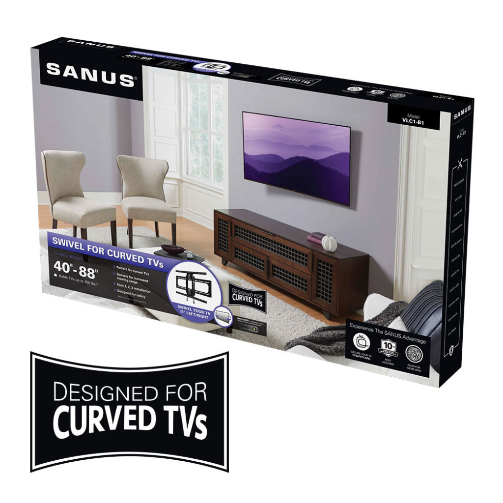 Sanus Curved Tv Swiveling Wall Mount For 40 88 Tvs